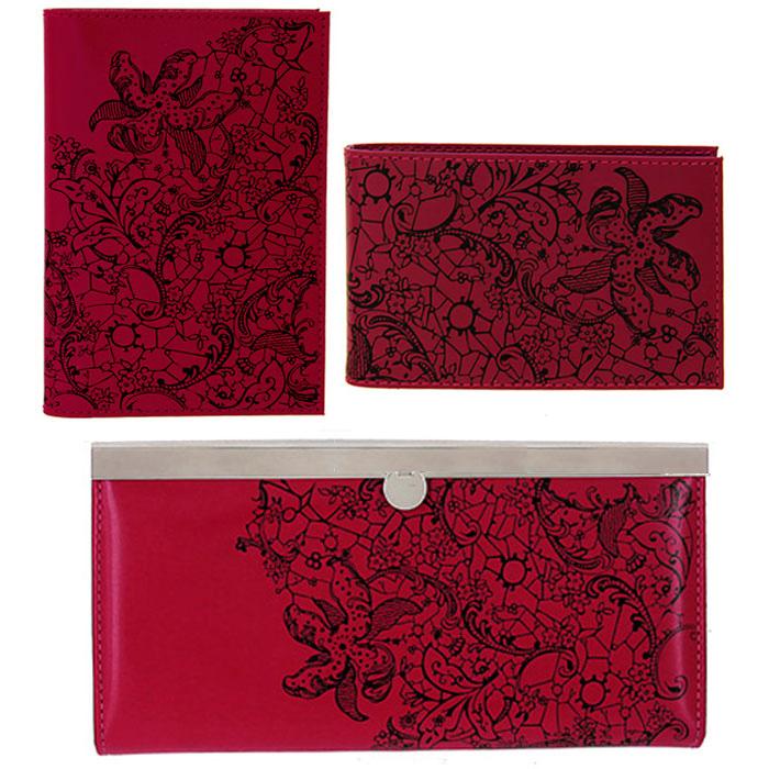Подарочный набор Befler: обложка для паспорта, визитница, портмоне, цвет: красный. PJ.39.-1.red/O.32.-1.red/V.43.-1.redPJ.39.red/O.32.red/V.43.rПодарочный набор Befler состоит из обложки для паспорта, визитницы и портмоне. Предметы набора выполнены из натуральной кожи красного цвета и оформлены декоративным тиснением гипюр. Обложка для паспорта не только поможет сохранить внешний вид ваших документов и защитить их от повреждений, но и станет стильным аксессуаром, идеально подходящим вашему образу. Компактная горизонтальная визитница предназначена для хранения 20 визиток. Женское портмоне Befler закрывается на металлический замок с защелкой. Внутри имеет четыре отделения для купюр, накладной карман для кредитных карт и карман для мелочи на застежке-молнии. Подарочный набор Befler станет великолепным подарком для человека, ценящего качественные и практичные вещи.