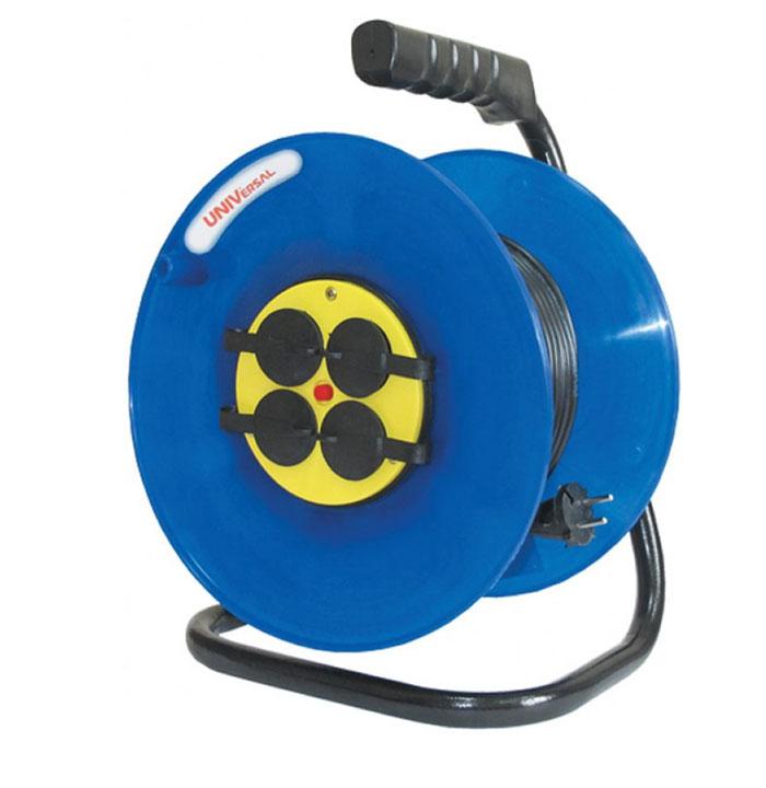 Удлинитель на катушке UNIVersal с заземлением, цвет: синий, желтый, 50 м