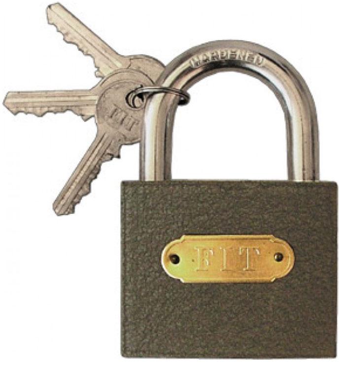Замок навесной FIT, 63 мм. 6716367163Навесной железный замок FIT применяется для запирания различного рода дверей. Имеет прочную закаленную дужку, которая не подвержена распилу. Корпус изготовлен из железа и обладает высокой стойкостью к деформации. В комплектацию входит три ключа.