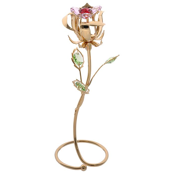 Фигурка декоративная Цветок, цвет: золотистый. 6748467484Декоративная фигурка Цветок, золотистого цвета, станет необычным аксессуаром для вашего интерьера и создаст незабываемую атмосферу. Фигурка выполнена в виде цветка розы на подставке и инкрустирована разноцветными кристаллами. Кристаллы, украшающие фигурку, носят громкое имя Swarovski. Ограненные, как бриллианты, кристаллы блистают сотнями тысяч различных оттенков. Эта очаровательная фигурка послужит отличным функциональным подарком, а также подарит приятные мгновения и окунет вас в лучшие воспоминания. Фигурка упакована в подарочную коробку.