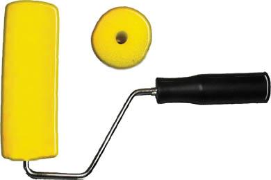 Валик поролоновый FIT с ручкой, 180 мм, цвет: желтый