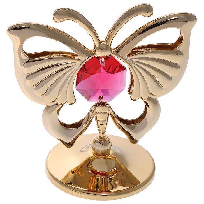 Фигурка декоративная Бабочка, цвет: золотистый. 6762367623Декоративная фигурка Бабочка, золотистого цвета, станет необычным аксессуаром для вашего интерьера и создаст незабываемую атмосферу. Фигурка выполнена в виде бабочки на подставке и инкрустирована красным кристаллом. Кристаллы, украшающие фигурку, носят громкое имя Swarovski. Ограненные, как бриллианты, кристаллы блистают сотнями тысяч различных оттенков. Эта очаровательная вещь послужит отличным подарком близкому человеку, родственнику или другу, а также подарит приятные мгновения и окунет вас в лучшие воспоминания. Фигурка упакована в подарочную коробку.
