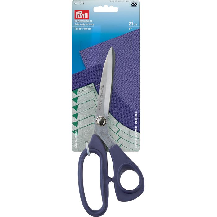 Ножницы Prym Professional, портновские, 21 см611512Ножницы Prym Professional, изготовленные из высококачественной стали с прорезиненными ручками, легки и удобны в работе. Кончики ножниц легко разрезают материал, не заминая край. Режущие поверхности идеально сходятся, а длина лезвия позволяет кроить по прямой. Ножницы могут применяться для кроя тяжелых тканей.