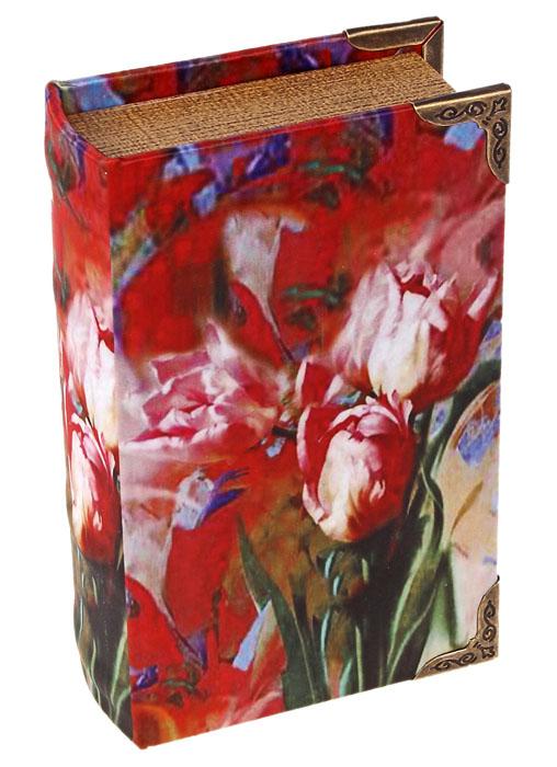 Шкатулка Красные тюльпаны622905Шкатулка Красные тюльпаны, выполненная в виде книги, не оставит равнодушной ни одну любительницу изысканных вещей. Шкатулка изготовлена из дерева и обтянута шелком с изображением красных тюльпанов. Внутренняя поверхность шкатулки отделана искусственной кожей. Сочетание оригинального дизайна и функциональности сделает такую шкатулку практичным и стильным подарком, а также предметом гордости ее обладательницы. Характеристики: Материал: дерево, кожзаменитель, шелк, металл. Размер шкатулки: 10,5 см х 17 см х 5 см. Размер упаковки: 12 см х 17,5 см х 5,5 см. Артикул: 622905.