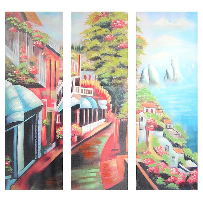 Картина-репродукция без рамки Улица, 78 х 80 х 3 см29038Картина-репродукция без рамки выполнена из натуральной древесины масляной печатью с ручной подрисовкой. Картина состоит из трех частей с изображением яркой улицы. Такая картина - вдохновляющее декоративное решение, привносящее в интерьер нотки творчества и изысканности! Благодаря оригинальному дизайну картина дополнит интерьер любого помещения, а также сможет стать изысканным подарком для ваших друзей и близких. Характеристики: Материал: древесина, текстиль. Общий размер 3-х картин: 78 см х 80 см х 3 см. Размер одной картины: 26 см х 80 см х 3 см. Артикул: 29038.