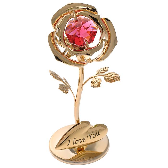 Фигурка декоративная Роза, цвет: золотистый. 6749367493Декоративная фигурка Роза, золотистого цвета, станет необычным аксессуаром для вашего интерьера и создаст незабываемую атмосферу. Фигурка выполнена в виде цветка розы на подставке и инкрустирована красным кристаллом. Кристаллы, украшающие фигурку, носят громкое имя Swarovski. Ограненные, как бриллианты, кристаллы блистают сотнями тысяч различных оттенков. Эта очаровательная фигурка послужит отличным функциональным подарком, а также подарит приятные мгновения и окунет вас в лучшие воспоминания. Фигурка упакована в подарочную коробку.