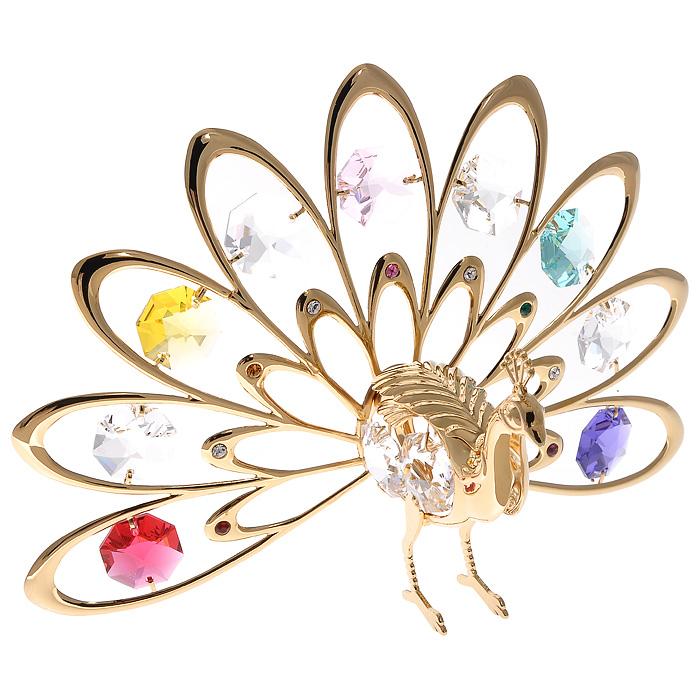 Фигурка декоративная Павлин, цвет: золотистый67037Декоративная фигурка Павлин, золотистого цвета, станет необычным аксессуаром для вашего интерьера и создаст незабываемую атмосферу. Фигурка в виде павлина с расправленным хвостом инкрустирована разноцветными кристаллами. Кристаллы, украшающие фигурку, носят громкое имя Swarovski. Ограненные, как бриллианты, кристаллы блистают сотнями тысяч различных оттенков. Эта очаровательная фигурка послужит отличным функциональным подарком, а также подарит приятные мгновения и окунет вас в лучшие воспоминания. Фигурка упакована в подарочную коробку.
