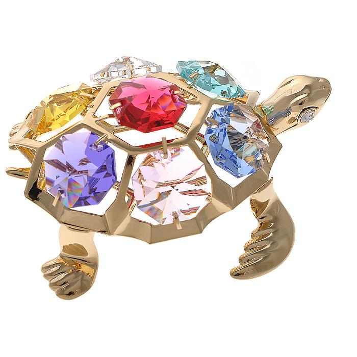 Фигурка декоративная Черепаха, цвет: золотистый67142Декоративная фигурка Черепаха, золотистого цвета, станет необычным аксессуаром для вашего интерьера и создаст незабываемую атмосферу. Фигурка выполнена в виде черепашки и инкрустирована разноцветными кристаллами. Кристаллы, украшающие фигурку, носят громкое имя Swarovski. Ограненные, как бриллианты, кристаллы блистают сотнями тысяч различных оттенков. Эта очаровательная фигурка послужит отличным функциональным подарком, а также подарит приятные мгновения и окунет вас в лучшие воспоминания. Фигурка упакована в подарочную коробку.