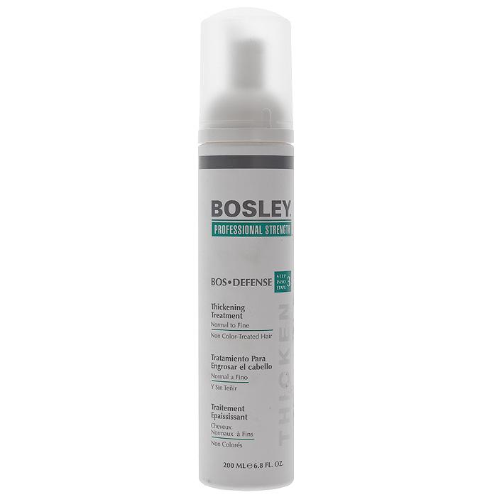 Bosley Уход, увеличивающий густоту нормальных, тонких и неокрашенных волос, 200 млБЗУ1Уход Bosley создает ощущение утолщения волос, помогая препятствовать воздействию ДГТ. Защищает и восстанавливает волосяные фолликулы и помогает поддерживать здоровое функционирование волос. Способ применения: наносить ежедневно на кожу головы и волосы после применения шампуня и кондиционера. Не смывать!