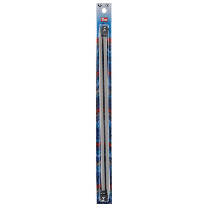 Спицы Prym алюминиевые прямые с наконечниками, цвет: жемчужно-серый, диаметр 7 мм191470Прямые алюминиевые спицы Prym с наконечниками предназначены для вывязывания широких деталей изделия (спинки, переда, рукавов). Спицы прочные, легкие, гладкие, удобные в использовании. Кончики спиц закругленные. Ограничители препятствуют соскальзыванию петель. Вы сможете вязать для себя и делать подарки друзьям. Рукоделие всегда считалось изысканным, благородным делом. Работа, сделанная своими руками, долго будет радовать вас и ваших близких.