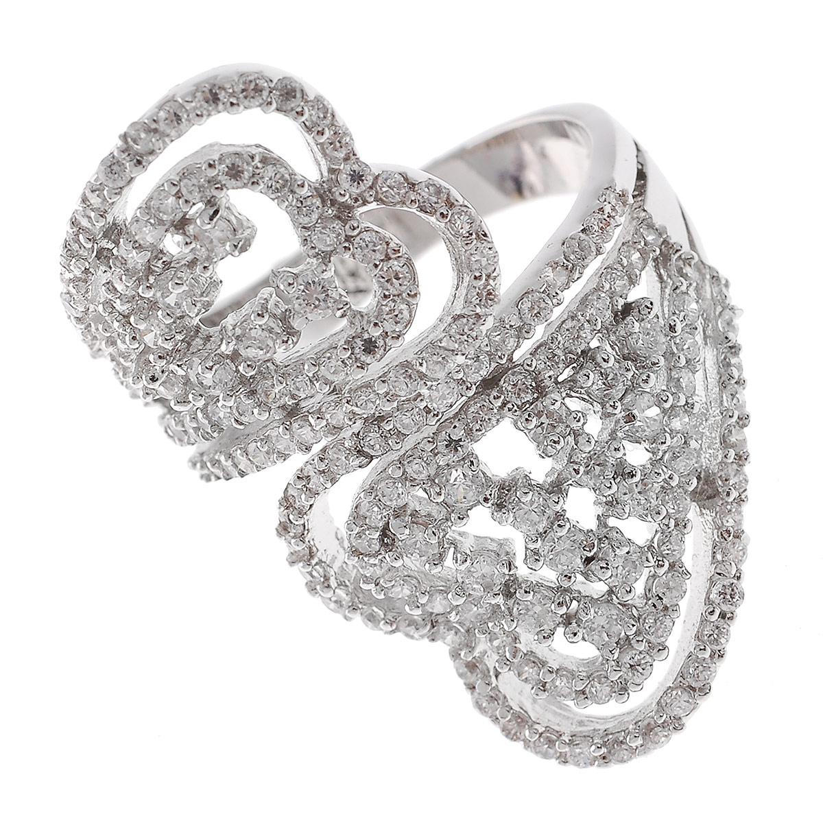 Кольцо Lovely Jewelry, цвет: серебристый. Размер 17. КС1002КС1002Оригинальное кольцо Lovely Jewelry выполнено из металла с гальваническим покрытием родием и оформлено цирконами. Такое кольцо позволит вам с легкостью воплотить самую смелую фантазию и создать собственный, неповторимый образ. Кольцо упаковано в бархатный мешочек. Характеристики: Материал: металл, циркон. Покрытие: родий. Размер кольца: 17 см. Размер декоративной части: 2 см х 3 см. Артикул: КС1002.