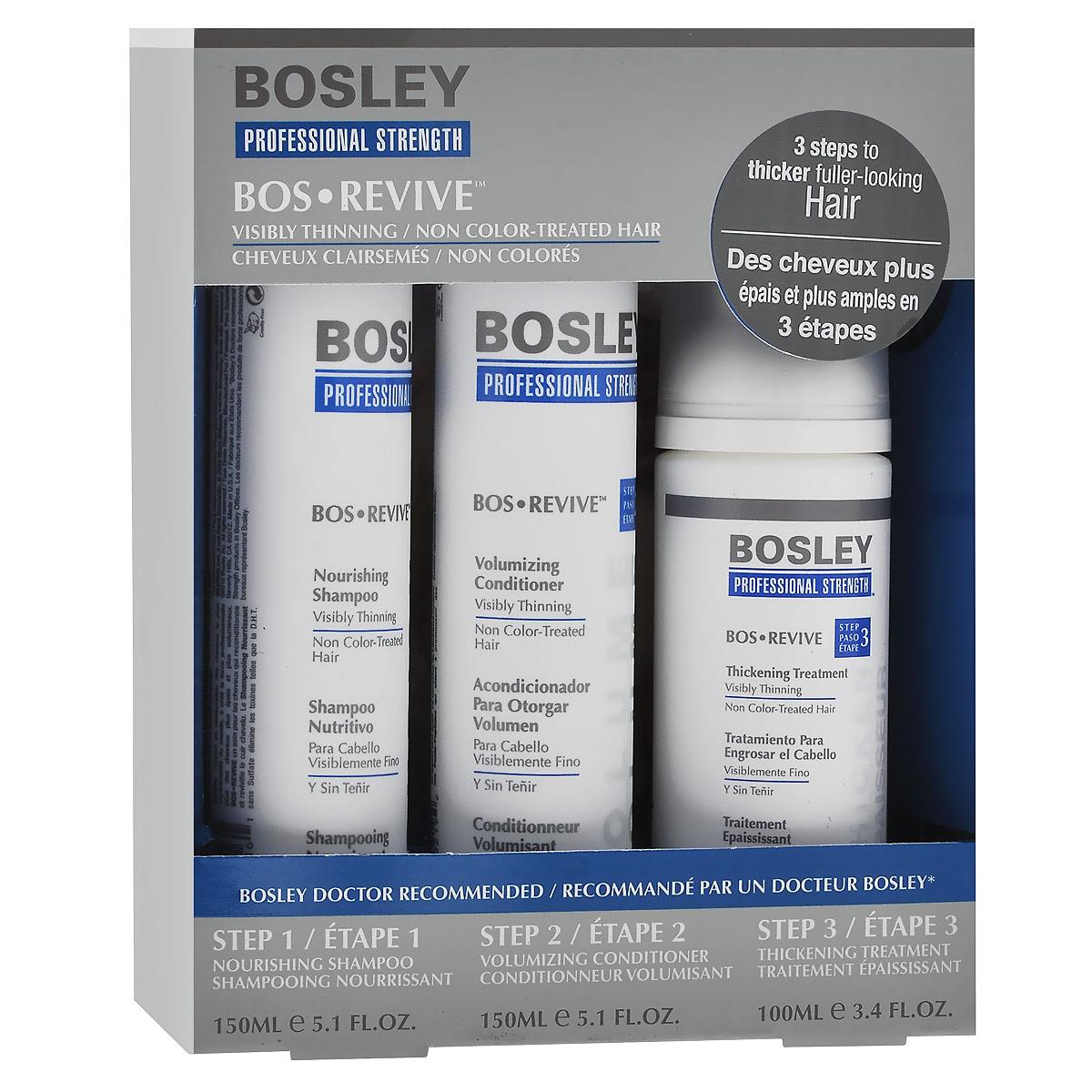 Bosley Набор для истонченных и неокрашенных волос: шампунь, кондиционер, несмываемый уход