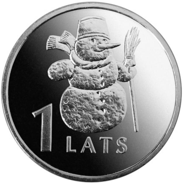 Монета номиналом 1 лат Снеговик. Медно-никелевый сплав. Латвия, 2007 годL2070 EМонета номиналом 1 лат Снеговик. Медно-никелевый сплав. Латвия, 2007 год Диаметр 2,1 см. Сохранность UNC (без обращения).