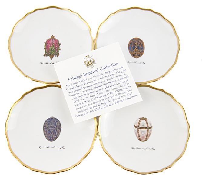 Комплект из 4 блюдец для канапе с изображениями самых известных яиц Фаберже. Фарфор, роспись, позолота. Франция, Фаберже, Лимож, конец ХХ века