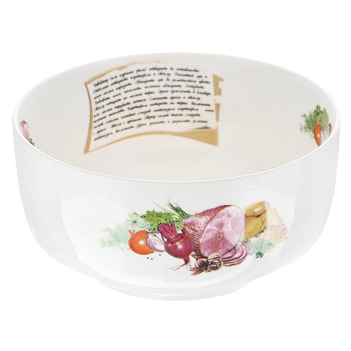 Салатник Гранатовый салат, цвет: белый, диаметр 18 см598-003Салатник Гранатовый салат, выполненный из высококачественного фарфора, порадует вас ярким дизайном и практичностью. Дно салатника декорировано изображением гранатового салата, а сбоку написан рецепт его приготовления и изображены необходимые продукты, также напротив рецепта присутствует надпись Гранатовый салат. В комплект к салатнику прилагается небольшой буклет с рецептами любимых салатов и закусок. Такой салатник украсит ваш праздничный или обеденный стол и станет достойным дополнением к кухонному инвентарю. Характеристики: Материал: фарфор. Цвет: белый. Диаметр по верхнему краю: 18 см. Диаметр основания: 11,5 см. Высота: 9 см. Размер упаковки: 18,5 см х 18,5 см х 9 см. Артикул: 598-003.