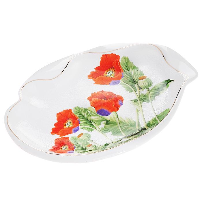 Блюдо Цветы мака, цвет: белый, красный, 25,5 см х 17 см545-379Оригинальное фигурное блюдо Цветы мака, изготовленное из высококачественного фарфора, прекрасно подойдет для красивой сервировки стола. Изящный дизайн придется по вкусу и ценителям классики, и тем, кто предпочитает утонченность и изысканность.