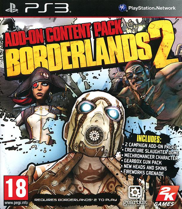 Borderlands 2Borderlands 2: Add-On Content Pack - это дополнительные сюжетные кампании, на прохождение которых понадобится около 20 часов, боевая арена Купол кровопролития, где можно сразиться с самыми опасными и редкими тварями Пандоры, а также новый, пятый, класс персонажа - мехромантка. Не обойдется, конечно же, и без нового оружия, голов и костюмов для персонажей. Наконец, самым удачливым наверняка достанется заветный золотой ключик, отпирающий таинственный сундук! Особенности игры: Дополнение Мехромантка (Mechromancer Pack) открывает доступ к пятому классу персонажей - мехромантке Гайке. Когда дело пахнет жареным, эта сдвинутая на анархии девчонка вызывает на подмогу самодельного робота-убийцу. Сюжетные дополнения Капитан Скарлетт и ее пиратское сокровище (Captain Scarlett and her Priates Booty) и Мистер Торрг устраивает месилово (Mr. Torgues Campaign of Carnage) предложат непростые испытания и познакомят с новыми героями - королевой песчаных пиратов по имени...