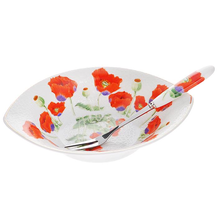 Блюдо Цветы мака с вилочкой, 11 х 16,5 см545-374Оригинальное блюдо Цветы мака, изготовленное из высококачественного фарфора, прекрасно подойдет для красивой сервировки стола. Вилочка изготовлена из металла с глянцевой полировкой и фарфоровой ручкой. Изящный дизайн придется по вкусу и ценителям классики, и тем, кто предпочитает утонченность и изысканность. Характеристики: Материал: фарфор, металл. Размер блюда: 11 см х 16,5 см х 3,5 см. Длина вилочки: 15 см. Размер упаковки: 16,5 см х 11,5 см х 4,5 см. Артикул: 545-374.