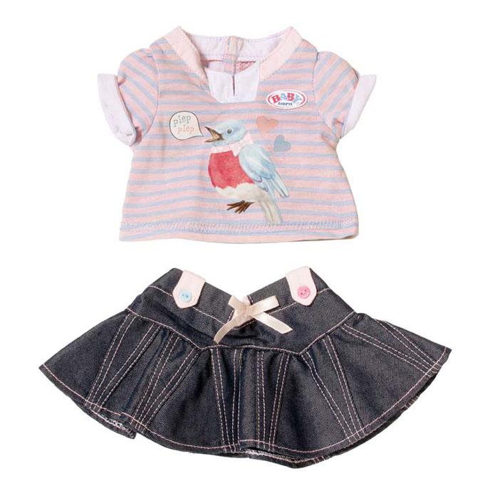 Baby Born Одежда для кукол Футболка и юбка со звуковыми эффектами817-612С игровыми наборами Baby born Одежда музыкальная ваш ребенок сможет переодевать свою куколку по своему вкусу и настроению. Каждый из наборов включает в себя джинсовую серую юбочку с пуговичками или бантиками или штанишки с пуговичками, а также футболку с термо-аппликацией с изображением котенка, щенка, птички или лошадки. При нажатии на то или иное животное слышится характерный для него звук. Набор одежды рассчитан для кукол высотой до 43 см. Ваша малышка сможет часами играть с набором, наряжая куклу и придумывая различные истории. Порадуйте ее таким замечательным подарком!