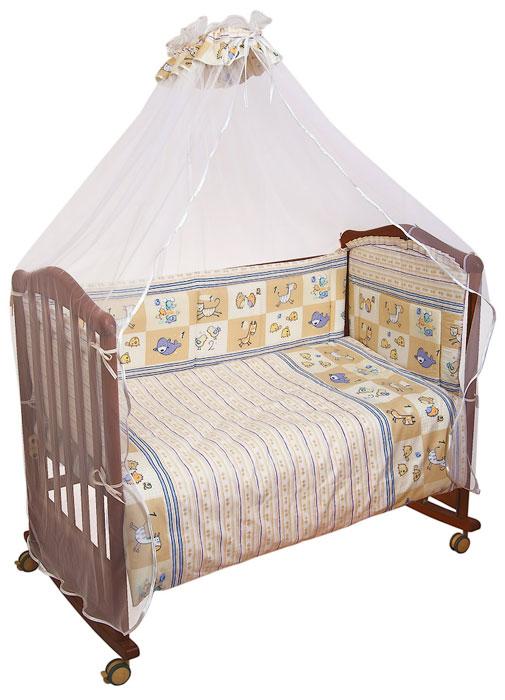 Сонный Гномик Комплект в кроватку Считалочка цвет бежевый 7 предметов705Комплект в кроватку Считалочка прекрасно подойдет для кроватки вашего малыша, добавит комнате уюта и согреет в прохладные дни. В качестве материала верха использован натуральный хлопок безупречной выделки с авторским рисунком, мягкая ткань не раздражает чувствительную и нежную кожу ребенка и хорошо вентилируется. Деликатные швы рассчитаны на прикосновение к нежной коже ребенка. Бампер, подушка и одеяло наполнены холлконом - экологически безопасным гипоаллергенным синтетическим материалом, обладающим высокими теплозащитными свойствами. Элементы комплекта оформлены изображениями забавных животных. Комплект состоит из: бампера с несъемными чехлами, балдахина с сеткой, подушки с клапаном, одеяла, пододеяльника, наволочки, простыни. Для производства изделий Сонный гномик используются только высококачественные ткани ведущих мировых производителей. Благодаря особым технологиям сбора и переработки хлопка...