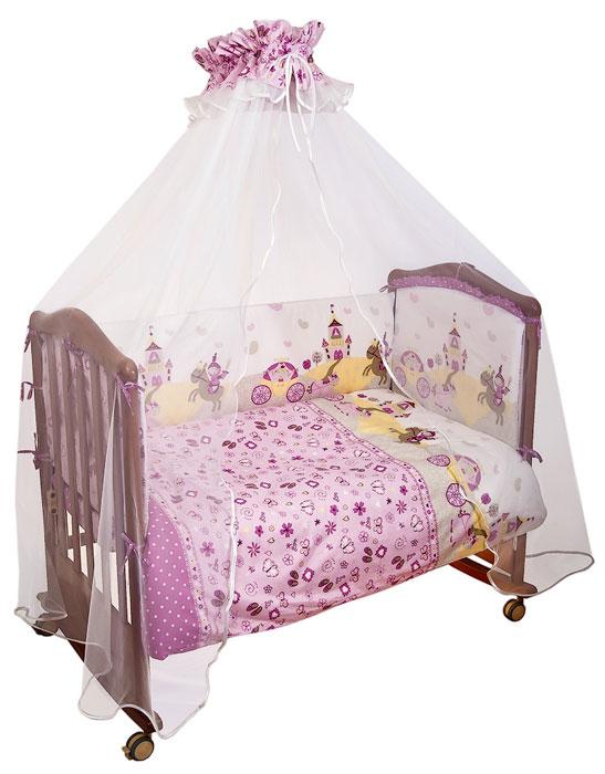 Комплект в кроватку Золушка, цвет: белый, темно-розовый, 7 предметов707Комплект в кроватку Золушка прекрасно подойдет для кроватки вашего малыша, добавит комнате уюта и согреет в прохладные дни. В качестве материала верха использован натуральный хлопок, мягкая ткань не раздражает чувствительную и нежную кожу ребенка и хорошо вентилируется. Наполнение одеяла, подушки и бампера из холлкона - экологически безопасного гипоаллергенного синтетического материала, обладающего высокими теплозащитными свойствами. Элементы комплекта оформлены изображениями замка, рыцаря и прекрасной принцессы. Комплект состоит из: бампера со съемными чехлами, балдахина с сеткой, подушки, одеяла, пододеяльника, наволочки, простыни. Характеристики: Материал: бязь, 100% хлопок. Наполнитель бампера, одеяла и подушки: холлкон. Материал сетки балдахина: 100% полиэстер. Размер одеяла: 140 см х 110 см. Размер бампера: 360 см х 42 см. Размер балдахина: 450 см х 175 см. ...