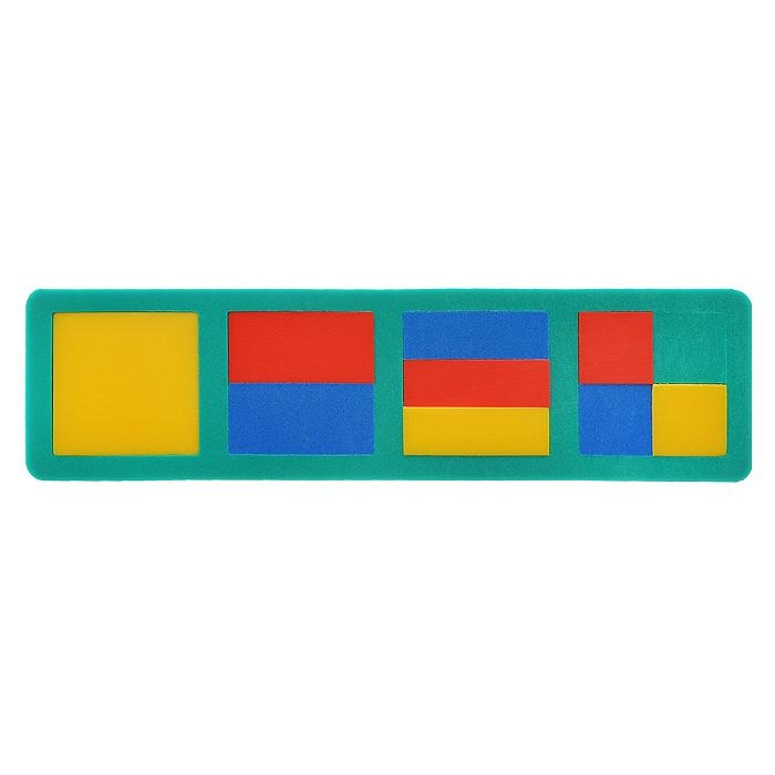 Мягкая мозаика Флексика. 4531045310Мягкая мозаика Флексика изготовлена из пенополиэтилена - современного, легкого, эластичного и прочного материала, который обеспечивает долговечность игрушек, и главное - является абсолютно безопасным для детей. Мозаика представляет собой рамку зеленого цвета с четырьмя квадратными отверстиями. В рамку вставляются элементы, выполненные в виде квадратов и прямоугольников разного размера красного, синего и желтого цветов. Мягкая мозаика развивает у ребенка память, воображение, моторику, пространственное и логическое мышление, в игровой форме знакомит с простыми геометрическими фигурами, дает первое представление о дробях, развивает цветовое восприятие. Характеристики: Материал: пенополиэтилен. Размер рамки: 27,5 см х 7,5 см х 1 см.