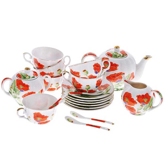 Набор чайный Цветы мака с ложками, 21 предмет545-378Чайный набор Цветы мака состоит из шести чашек, шести блюдец, заварочного чайника, сахарницы, молочника и шести ложек. Предметы набора изготовлены из высококачественного фарфора и оформлены изображением маков. Изящный дизайн придется по вкусу и ценителям классики, и тем, кто предпочитает утонченность и изысканность. Он настроит на позитивный лад и подарит хорошее настроение с самого утра. Набор упакован в красочную подарочную коробку. Внутренняя часть коробки задрапирована белым атласом. Каждый предмет надежно зафиксирован внутри коробки благодаря специальным выемкам. Чайный набор - идеальный и необходимый подарок для вашего дома и для ваших друзей в праздники, юбилеи и торжества! Он также станет отличным корпоративным подарком и украшением любой кухни.
