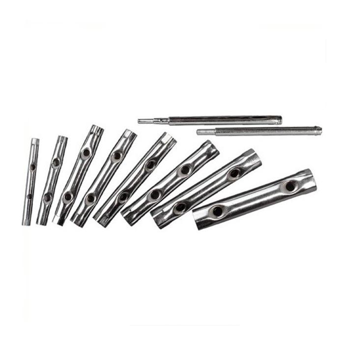 Набор трубчатых ключей КонтрФорс, 10 шт. 136555136555Набор трубчатых ключей КонтрФорс состоит из восьми ключей и двух стержней. Трубчатые ключи используются при работе с шестигранным крепежом. Благодаря продолговатой форме ключа, удобно работать инструментом в труднодоступных местах.
