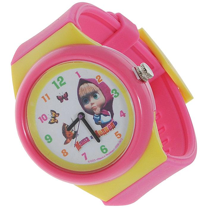 Часы наручные Маша и медведь, кварцевые, цвет: розовый, желтый331343Наручные часы  Маша и медведь  станут замечательным подарком для вашего ребенка. Круглый циферблат часов в пластиковом корпусе розового и желтого цветов оформлен арабскими цифрами и изображением Маши, героини популярного мультсериала Маша и медведь. Часы оснащены кварцевым механизмом. Удобный розовый ремешок из мягкого ПВХ не доставит дискомфорта от ношения часов.