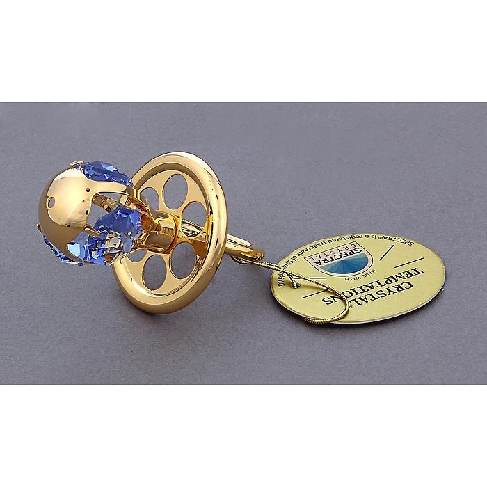 Фигурка декоративная Соска, цвет: золотистый. 445458445458Декоративная фигурка Соска выполнена из металла золотистого цвета и украшена голубыми кристаллами Swarovski. Поставьте фигурку на стол в офисе или дома и наслаждайтесь изящными формами и блеском кристаллов. Изысканный и эффектный, этот сувенир покорит своей красотой и изумительным качеством исполнения, а также станет замечательным подарком. Характеристики: Материал: металл, кристаллы Swarovski. Размер фигурки: 3,5 см х 3,5 см х 6 см. Цвет: золотистый. Размер упаковки: 5 см х 4 см х 8 см. Артикул: 445458.