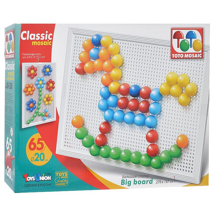 Мозаика Классика, 65 элементов00-336Мозаика Классика - это яркая, увлекательная, развивающая игра. Мозаика включает в себя плату и 65 крупных выпуклых овальных элементов, при помощи которых ребенок сможет создавать различные объемные цветные картинки. Для этого ему нужно лишь соединить разноцветные пластиковые элементы между собой на примере приведенных на коробке картинок или так, как подскажет фантазия. Оригинальная конструкция платы позволяет легко вставлять и фиксировать фишки, предотвращая их выпадение при переворачивании или переноске собранной картинки. Игры с мозаикой Классика способствуют развитию у малышей мелкой моторики рук, координации движений, внимательности, логического и абстрактного мышления, ориентировку на плоскости, а также воображения и творческих способностей.