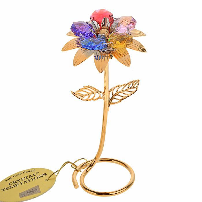 Фигурка декоративная Цветок, цвет: золотистый. 523081523081Декоративная фигурка Цветок выполнена из металла золотистого цвета и украшена разноцветными кристаллами Swarovski. Поставьте фигурку на стол в офисе или дома и наслаждайтесь изящными формами и блеском кристаллов. Изысканный и эффектный, этот сувенир покорит своей красотой и изумительным качеством исполнения, а также станет замечательным подарком.