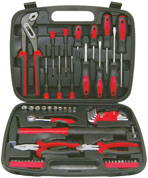 Набор инструментов FIT, 1/4, 57 предметов65147Набор слесарно-монтажных инструментов FIT - это необходимый предмет в каждом доме. Он включает в себя 57 предметов, которые умещаются в небольшом кейсе. Инструменты, входящие в набор гарантируют надежность и длительный срок службы. Такой набор будет идеальным подарком мужчине. Состав набора: Головки 1/4: 4 мм, 5 мм, 6 мм, 7 мм, 8 мм, 9 мм, 10 мм, 11 мм, 12 мм, 13 мм. Вороток 1/4 (13,5 см) Удлинитель для воротка 1/4 (5 см) Отвертки для точных работ: SL2, SL2,5, SL3, PH00, PH0 Отвертки шлицевые: SL6 x 100 мм, SL6 x 38 мм, SL5 x 75 мм Отвертки крестовые: PH1 5 x 75 мм, PH2 6 x 100 мм, PH2 6 x 38 мм Ключи шестигранные HEX: 1,5 мм, 2 мм, 2,5 мм, 3 мм, 4 мм, 5 мм, 6 мм, 8 мм, 10 мм Пассатижи (16 см) Бокорезы (16 см) Клещи переставные (25 см) Биты шлицевые: SL5, SL6 Биты крестовые: PH0, PH1, PH2 (2 шт.), PH3, PZ1, PZ2, PZ3 Биты шестигранные: HEX2, HEX3, HEX4, HEX5, HEX6, HEX7, T10, T15, T20 Отвертка c...