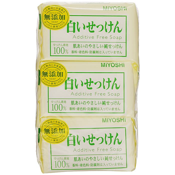 Miyoshi Туалетное мыло, на основе натуральных компонентов, 3х108 г1539Туалетное мыло с натуральными маслами и жирами изготовлено по традиционному способу мыловарения (после 4 дней с начала процесса омыления жира масса затвердевает, режется на куски, после чего мыло готово к использованию). При использовании образуется обильная пена, которая легко снимает загрязнения, не стягивая кожу. Рекомендуется для людей с чувствительной кожей. Не содержит ароматизаторов, красителей, консервантов. Характеристики: Вес: 3 х 108 г. Артикул: 1539. Производитель: Япония. Товар сертифицирован.