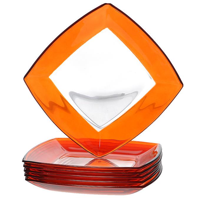 Набор тарелок Tokio, цвет: оранжевый, 19,5 см х 19,5 см, 6 шт54077ORНабор Tokio состоит из шести тарелок, выполненных из закаленного стекла, благодаря чему посуда будет использоваться очень долго, при этом сохраняя свой внешний вид. Квадратные тарелки декорированы по краю оранжевой окантовкой. Они сочетают в себе изысканный дизайн с максимальной функциональностью. Оригинальность оформления тарелок придется по вкусу и ценителям классики, и тем, кто предпочитает утонченность и изящность. Набор тарелок Tokio послужит отличным подарком к любому празднику. Характеристики: Материал: стекло. Цвет: оранжевый. Размер тарелки: 19,5 см х 19,5 см. Высота стенок тарелки: 2 см. Комплектация: 6 шт. Размер упаковки: 20 см х 20 см х 8 см. Артикул: 54077OR.