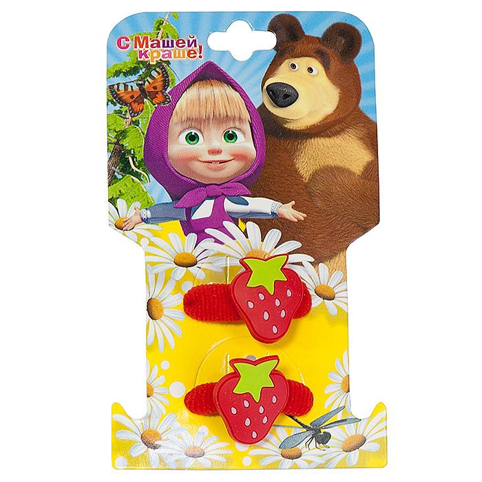 Резинка для волос Маша и медведь 'Клубнички', цвет: красный , 2 шт