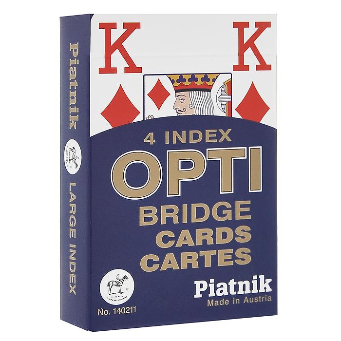 Игральные карты Opti Bridge, 55 листов, цвет: синий140211Игральные карты Opti Bridge с рубашкой синего цвета и увеличенным индексом предназначены для игры в бридж. В колоде 55 карт.