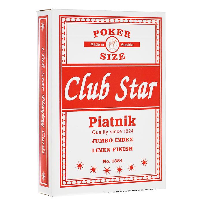 """Профессиональные игральные карты """"Club Star"""", 55 листов, цвет: красный ( 1384 )"""