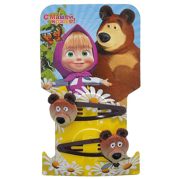 """Заколка для волос Маша и медведь """"Миша"""", цвет: коричневый, 2 шт 333604"""