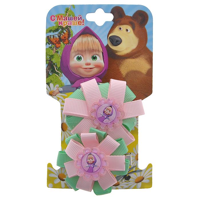 """Заколка-зажим для волос Маша и медведь """"Маша"""", цвет: розовый, салатовый, 2 шт 333609"""