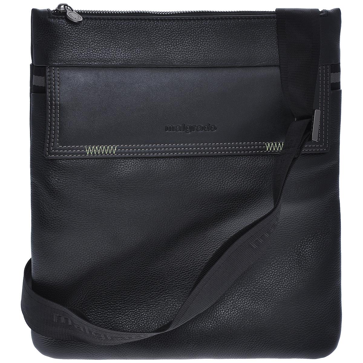 Сумка мужская Malgrado, цвет: черный. BR09-303C1836BR09-303C1836 black сумка мужская MalgradoСумка мужская Malgrado черного цвета выполнена из натуральной кожи. Основное отделение закрывается молнией, в основном отделе кожаные кармашки для ручек и мобильного телефона и карман на молнии. Спереди удобный карман, закрывающийся на магнитные кнопки, сзади удобный карман на кнопке. Модель снабжена плечевым ремнем. К сумке прилагается чехол для хранения. Сумка - это стильный аксессуар, который подчеркнет вашу изысканность и индивидуальность и сделает ваш образ завершенным.
