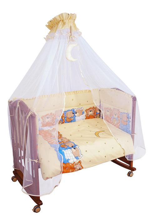 Бампер в кроватку Лежебоки, цвет: бежевый115Бампер в кроватку Лежебоки состоит из четырех частей и закрывает весь периметр кроватки. Бортик крепится к кроватке с помощью специальных завязок, благодаря чему его можно поместить в любую детскую кроватку. Бампер выполнен из бязи (наиболее тонкой нити) - натурального хлопка безупречной выделки. Деликатные швы рассчитаны на прикосновение к нежной коже ребенка. Бампер оформлен оборками и изображениями симпатичных медвежат и собачек в постельках. Наполнителем служит холлкон - эластичный синтетический материал, экологически безопасный и гипоаллергенный, обладающий высокими теплозащитными свойствами. Бампер защитит ребенка от возможных ударов о деревянные или металлические части кроватки. Бортик подходит для кроватки размером 120 см х 60 см.