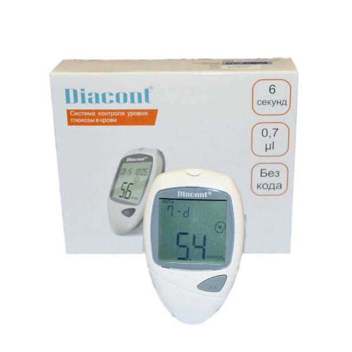 Система контроля уровня глюкозы в крови Diacont2598Система контроля уровня глюкозы в крови Diacont. Высокоточный глюкометр с большим экраном, функцией предупреждения о гипогликемии и гипергликемии, портом передачи данных на ПК и системой измерения без кодирования тест-полосок. Измерение происходит всего за 6 секунд, при этом для анализа требуется только 0,7 мкл крови. Глюкометр Diacont хранит в памяти 250 измерений, рассчитывает среднее значение за 7, 14, 21 и 28 дней, включается и выключается автоматически. Поставляется в комплекте с тест-полосками, ланцетами, устройством для получения капли крови, автоматическим скарификатором с приспособлением для взятия крови из альтернативных мест, контрольным раствором и футляром для хранения. Комплектация: глюкометр, 10-тест-полосок Diacont, 10 стерильных ланцетов, устройство для получения капли крови, автоматический скарификатор с приспособлением для взятия крови из альтернативных мест (ладонь, голень, предплечье, бедро), контрольный раствор, футляр, батарейка CR2032. ...