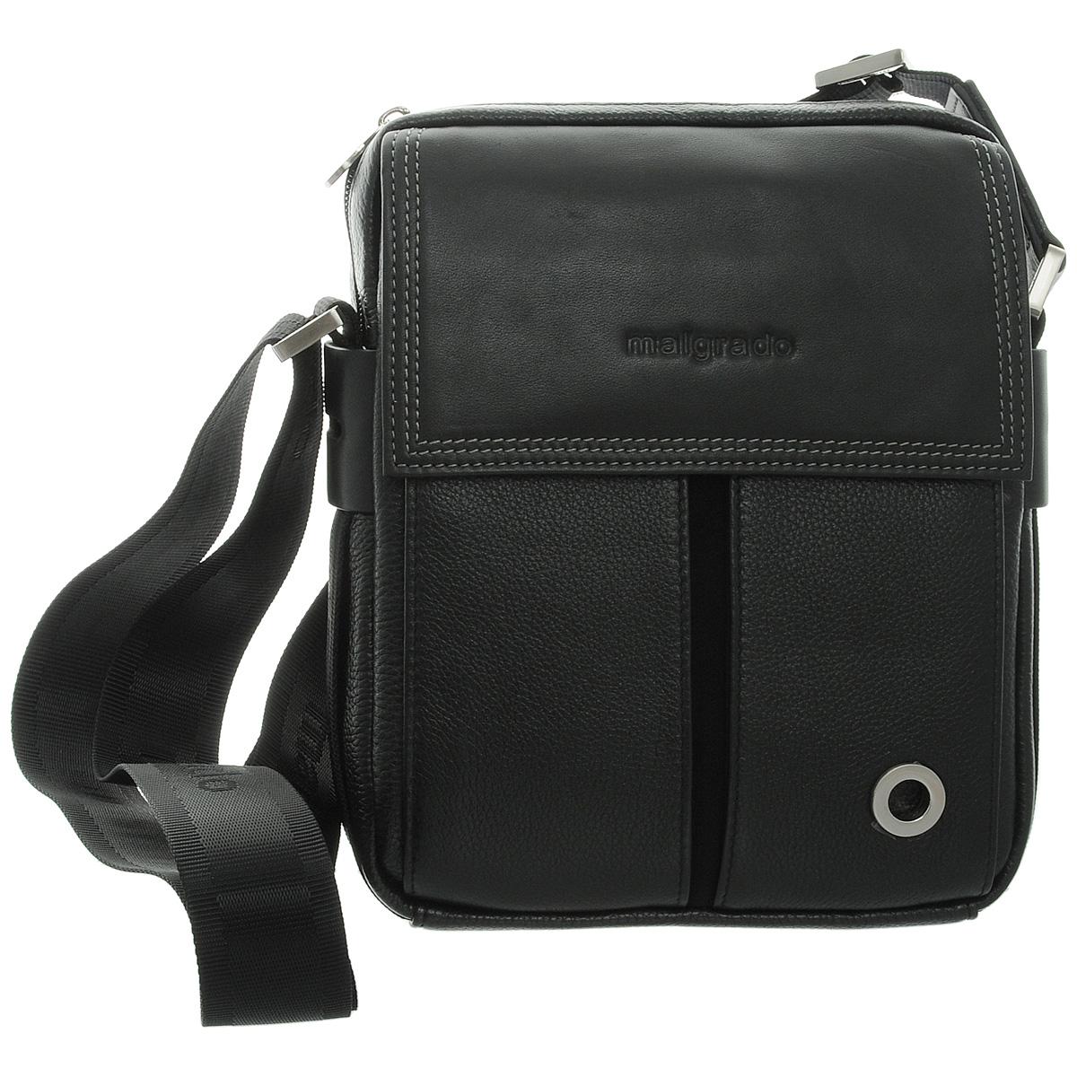 Сумка мужская Malgrado, цвет: черный. BR12-412C1856BR12-412C1856 black сумка мужская MalgradoСумка мужская Malgrado черного цвета выполнена из натуральной кожи. Сумка с удобным плечевым ремнем, состоит из одного вместительного отделения, застегивающегося на застежку-молнию. Внутри - два накладных кармана для мелочей, вшитый карман на молнии и два отверстия для ручек. Спереди имеется вместительное отделение, закрывающееся клапаном на магнитных кнопках. На задней стороне сумки так же расположен карман на кнопке. К сумке прилагается чехол для хранения. Сумка - это стильный аксессуар, который подчеркнет вашу изысканность и индивидуальность и сделает ваш образ завершенным. Характеристики: Материал: натуральная кожа, текстиль, металл. Размер сумки: 26 см х 20 см х 6 см. Длина ремня: 35 см. Цвет: черный. Артикул: BR12-412C1856.