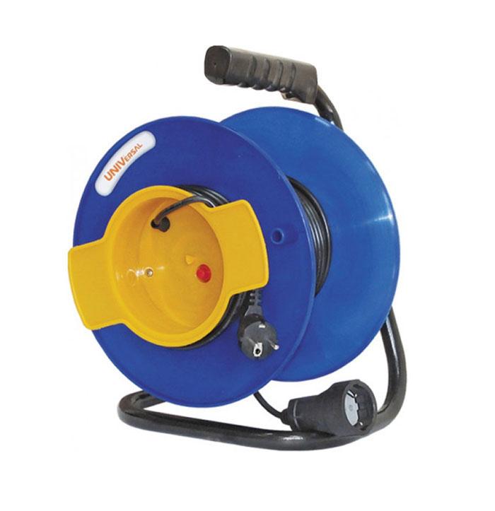 Удлинитель на катушке UNIVersal, без заземления, цвет: синий, желтый, 40 м9633261Удлинитель на катушке UNIVersal предназначен для подключения одного электроприбора. Будет полезен в гараже, на приусадебном участке, при проведении строительных, ремонтных и монтажных работ. Идеален для подключения газонокосилок, у которых предусмотрен короткий сетевой провод и фиксатор для соединения кабелей инструмента и удлинителя. Длина кабеля 40 метров позволит проводить необходимые работы на значительном расстоянии от источника питания. Рассчитан на напряжение 220В. Быстро сматывается/разматывается, экономя время оператора, удобен в хранении. Провод с поливинилхлоридной изоляцией обеспечивает надежность и безопасность работы. Характеристики: Длина провода: 40 м. Количество розеток: 1. Максимальная мощность: 1300 Вт. Максимальный ток: 6 A. Провод:ПВС 2 х 0,75 мм.