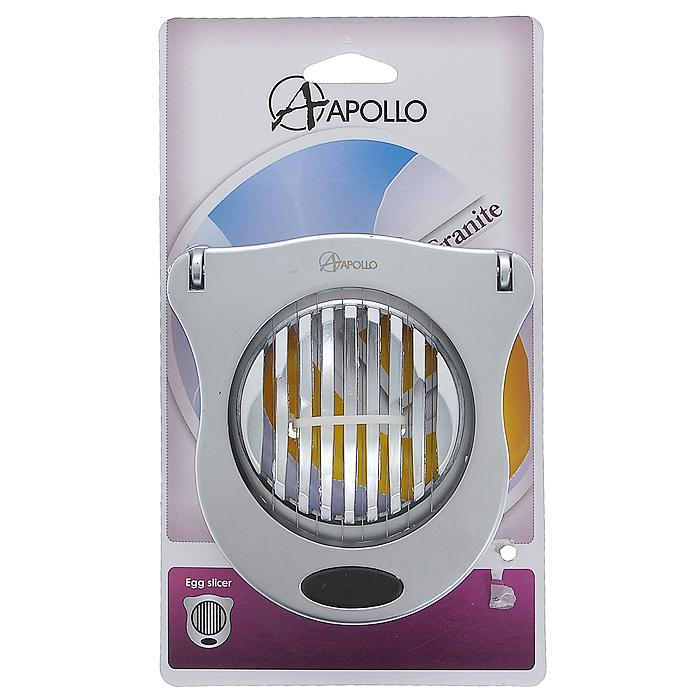 Яйцерезка Apollo Granite, цвет: серебристый13865Яйцерезка Apollo Argento выполнена из нержавеющей стали с матовой полировкой. С помощью этой яйцерезки вы без труда сможете измельчить яйцо. Хорошо натянутые струны легко нарезают яйцо на кусочки равной толщины. Пометите очищенное яйцо на рабочую часть, слегка нажмите на режущую часть и аккуратно разрезанные ломтики готовы для украшения изысканных блюд.
