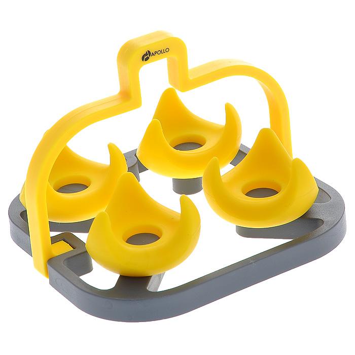 Яйцеварка силиконовая Apollo, цвет: желтыйCCO-01Специально разработанная силиконовая подставка крепко удерживает яйца, оставляя их преобладающую поверхность открытой для более быстрой варки. Благодаря выступающей ручке можно с легкостью извлечь яйца после их приготовления. Держатель для яиц может быть отделен от подставки и использован для сервировки.