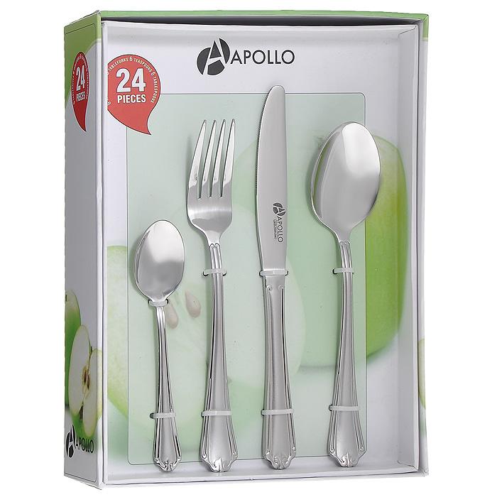 Набор столовых приборов Apollo Capri, 24 предметаCPR-24Набор столовых приборов Apollo Capri состоит из 24 предметов: 6 ножей, 6 столовых ложек, 6 вилок и 6 чайных ложек, изготовленных из высококачественной нержавеющей стали. Ручки приборов имеют матовую полировку. Эксклюзивный дизайн и функциональность делают набор незаменимым на современной кухне. Набор столовых приборов подойдет для сервировки стола, как дома, так и в ресторане и всегда будет важной частью трапезы, а также станет замечательным подарком.