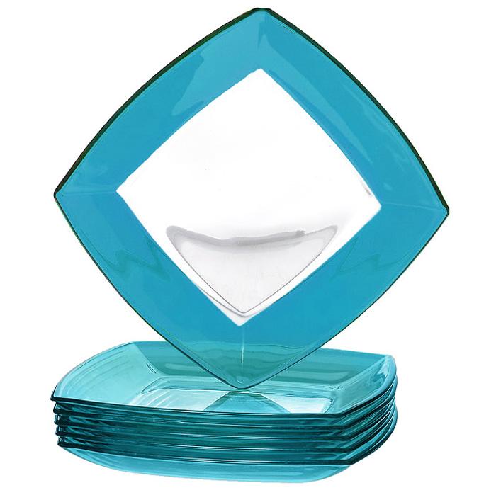Набор тарелок Tokio, цвет: голубой, 6 шт54077BLНабор Tokio состоит из шести тарелок, выполненных из высококачественного прозрачного и голубого стекла. Тарелки сочетают в себе изысканный дизайн с максимальной функциональностью. Оригинальность оформления придется по вкусу и ценителям классики, и тем, кто предпочитает утонченность и изящность. Набор тарелок Tokio послужит отличным подарком к любому празднику. Характеристики: Материал: стекло. Размер тарелки (Д х Ш х В): 19,5 см х 19,5 см х 2 см. Комплектация: 6 шт. Размер упаковки (Д х Ш х В): 20 см х 20 см х 8 см. Производитель: Турция. Артикул: 54077BL.