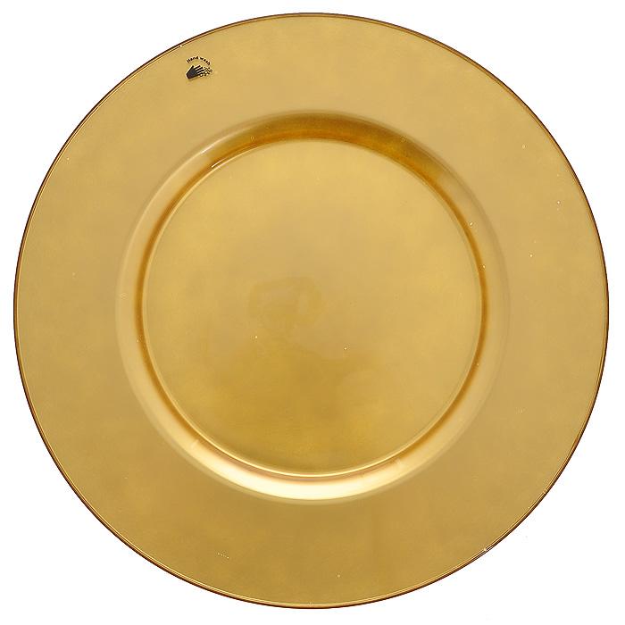 Блюдо Arte, цвет: золотистый, диаметр 35 см54253GLКруглое блюдо Arte изготовлено из высококачественного стекла золотистого цвета. Такое блюдо послужит интересным украшением интерьера вашего дома и подчеркнет прекрасный вкус хозяина. Блюдо можно преподнести в качестве оригинального подарка. Характеристики: Материал: натрий-кальций-силикатное стекло. Диаметр блюда: 35 см. Цвет: золотистый. Размер упаковки: 35,5 см х 35,5 см х 2 см. Артикул: 54253GL.